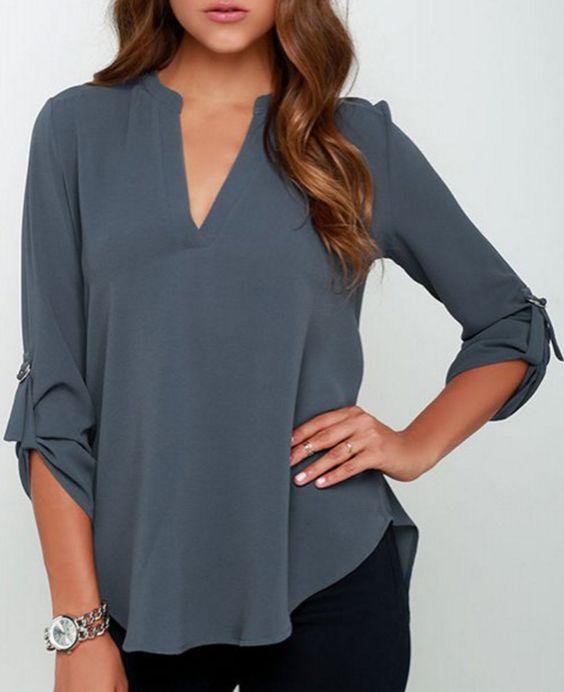twinkledeals | 3/4 v-neck chiffon blouse