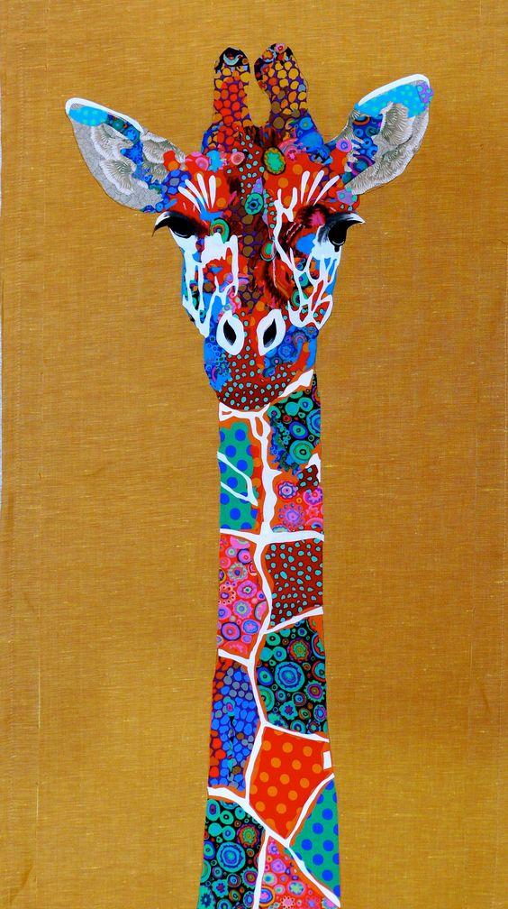 Giraffe art quilt by Pam Holland