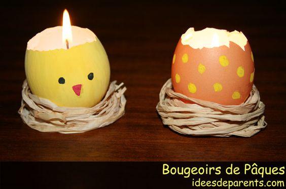 Bougie faite a partie doeuf Décors pâques Md  Pâques  Pinterest