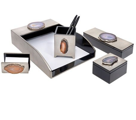 Silver Agate Black Lacquer Desk Set. Agate, Geode and Rocking Home Decor Accessories We Love at Design Connection, Inc. | Kansas City Interior Design http://www.designconnectioninc.com/blog #InteriorDesign