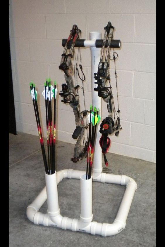 Bow rack made out of pvc pipe hunting pinterest bow for Bow made out of pvc pipe