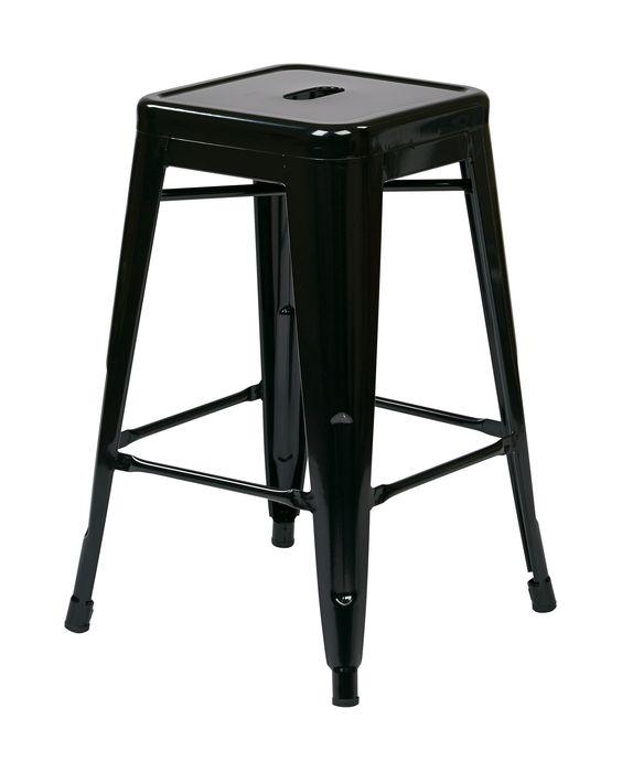 "Office Star 24"" Steel Backless Barstool (2-Pack) (Black) [PTR3024A2-3]"