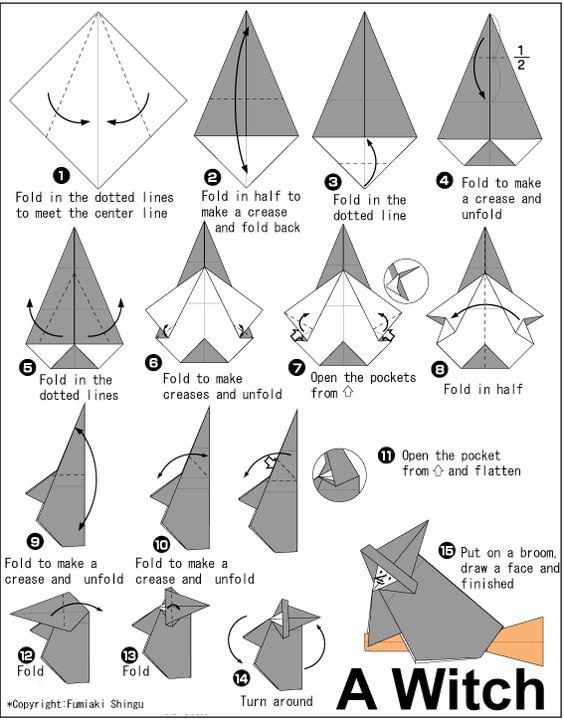 origami facile sorciere