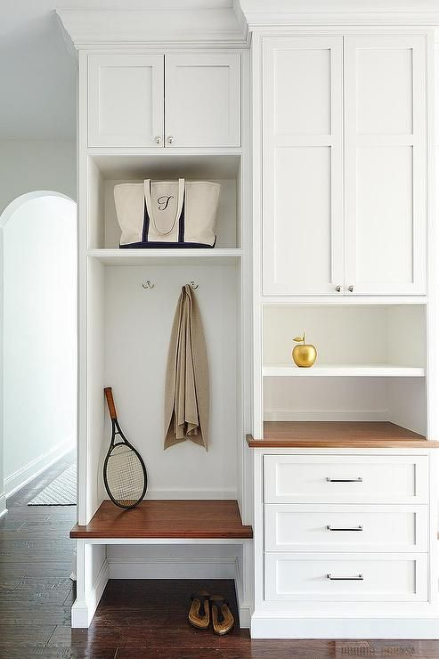 Beautiful Mudroom Features Built In Cabinets Ed With A Bench Overhead Shelf Next To Desk Pinterest