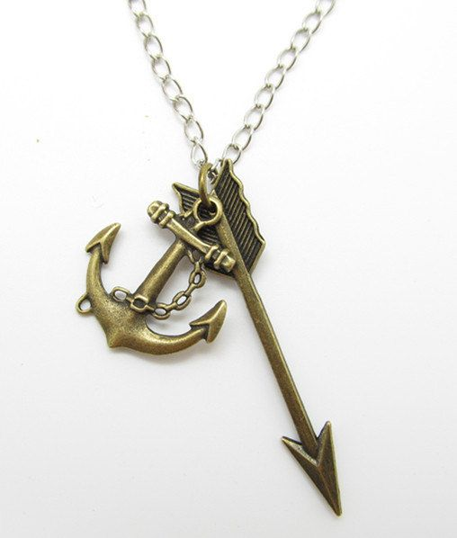 Necklaceantique bronze anchor  arrow  necklace by tencyy on Etsy, $8.79