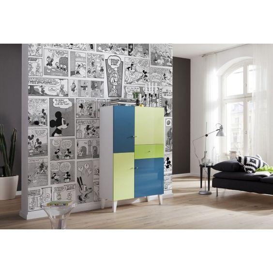 Panoramique Mickey BD noir et blanc  poster Komar  Panoramique chambre d