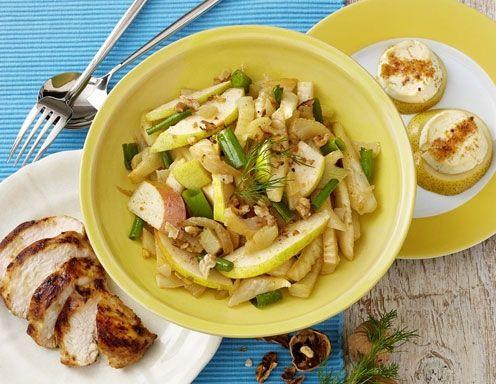 Fenchel-Birnen-Salat mit Huhn und Ziegenkäse