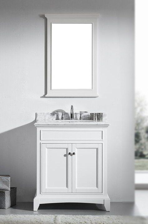 30 Inch White Bathroom Vanity Set With White Carrera Marble Top Vanities Pinterest