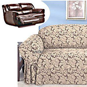 Reclining Loveseat Slipcover Damask Chocolate Adapted For Dual Recliner Love Seat Slipcover 4