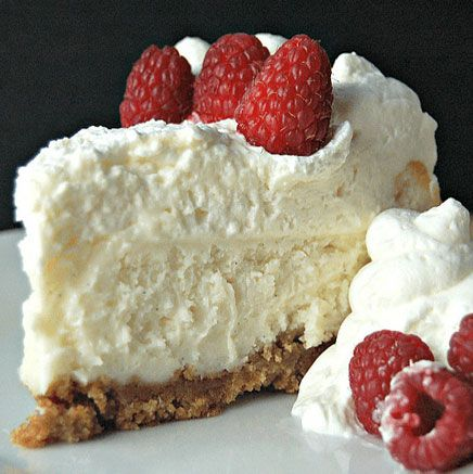 Cheesecake Factory Copycat Vanilla Bean Cheesecake with White Chocolate Mousse - via Amy in the Kitchen: