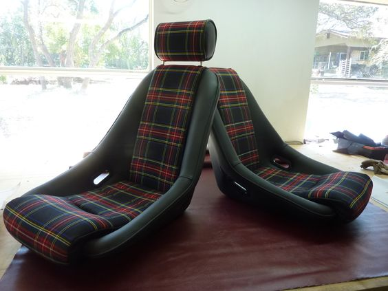 Nurburgring seats in leatherette w plaid centers custom - Burberry fabric for car interior ...