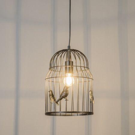 Lámpara colgante BIRDCAGE óxido - Lámpara de techo en forma de jaula. Este modelo es súper atractivo y único, le dará un toque muy original a su hogar. En las varillas de la jaula se pueden ver las siluetas de varios pájaros que crean unas sombras preciosas.