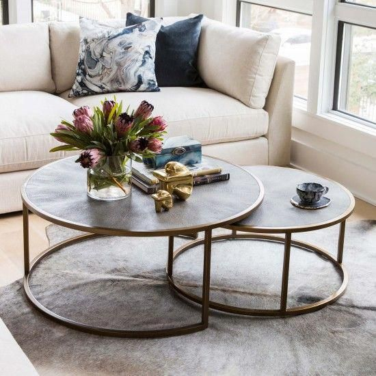 Shagreen Nesting Coffee Table Brass Table Decor Living Room Living Room Coffee Table Coffee Table