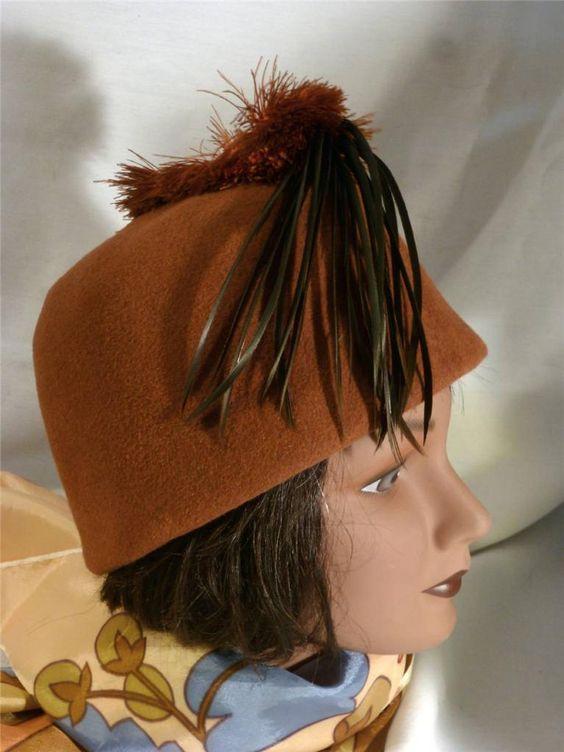 Vintage Glorious Hats Ltd.Chicago Unique Feathered Wool Felt Hat 60's