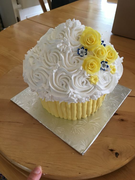 Giant cupcake gluten free.  Wedding cake topper.