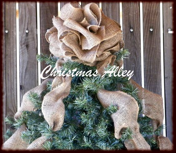 Christmas Tree Topper - Burlap Tree Topper, Bow Topper, Burlap ...