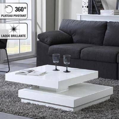 Vegas Table Basse Transformable Contemporain Blanc 75x75cm Laque Blanc Brillant Table Basse Transformable Table Basse Table Transformable