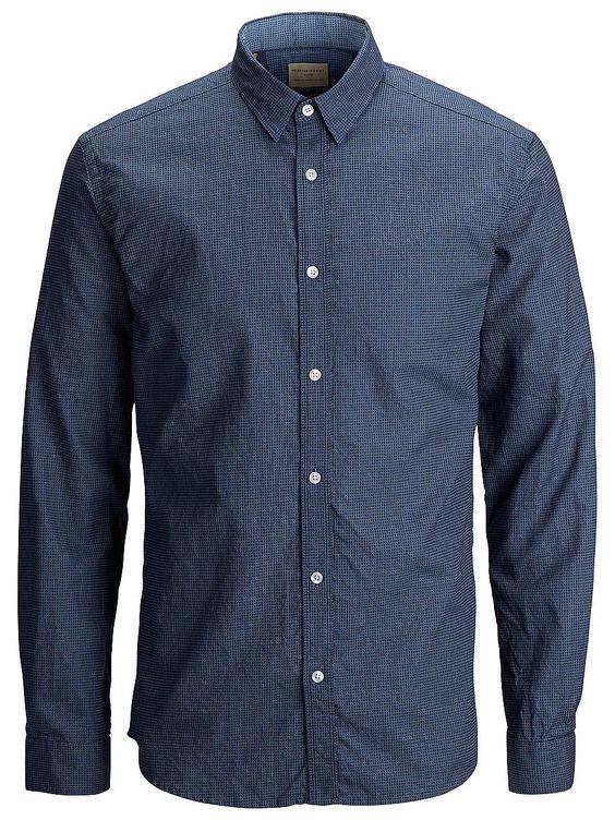 Indigo SELECTED Homme - Slim fit - 100 % Baumwolle - Klassisch mit Knopf unter dem Kragen - Kleines Detail am Ärmel - Gemustert - Leichte Qualität. Ein Hemd, das mit den meisten Outfits in deinem Kleiderschrank kombinierbar ist. Das Hemd verfügt über eine schönes Muster für das gewisse Extra. Kombiniere dazu schwarze Jeans und Sneakers.   100% Baumwolle...