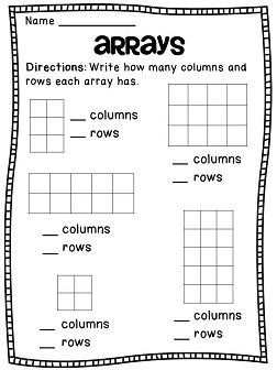 Rectangular arrays worksheets 2nd grade