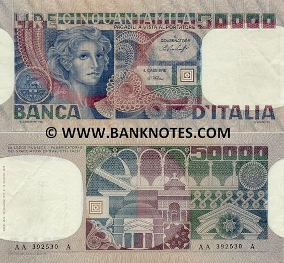 """Italy 50000 Lire 1977  Front: """"Portrait of a Woman"""" (Volto di Donna). Winged lion of St. Mark, symbol of Venice above three shields of Genoa, Pisa and Amalfi. Back: Architectural detail and elements. Main colours: Blue; green and red-brown. Composition: Guglielmo Savini. Engraving: Alberto Canfarini. Issue: 632.800.000. Date: 13 June 1977. Watermark: """"Face of a Woman"""". Signatures: Baffi; Stevani (1977-78); Ciampi; Stevani (1980, 1982) (Il Governatore; Il Cassiere)."""
