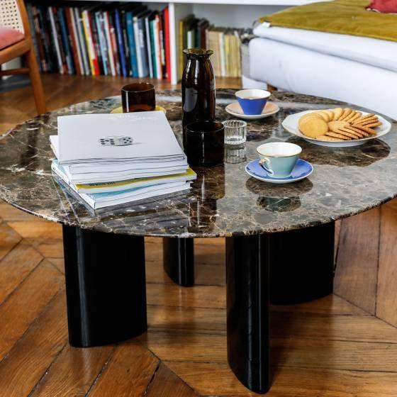Table Basse Carlotta Pieds Laques Noir Et Marbre Marron Plateau En Marbre Marbre Table Basse
