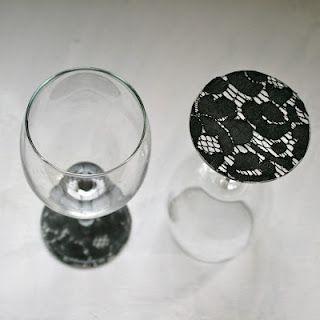 Super cute DIY idea...lace on stemware!  Love it!
