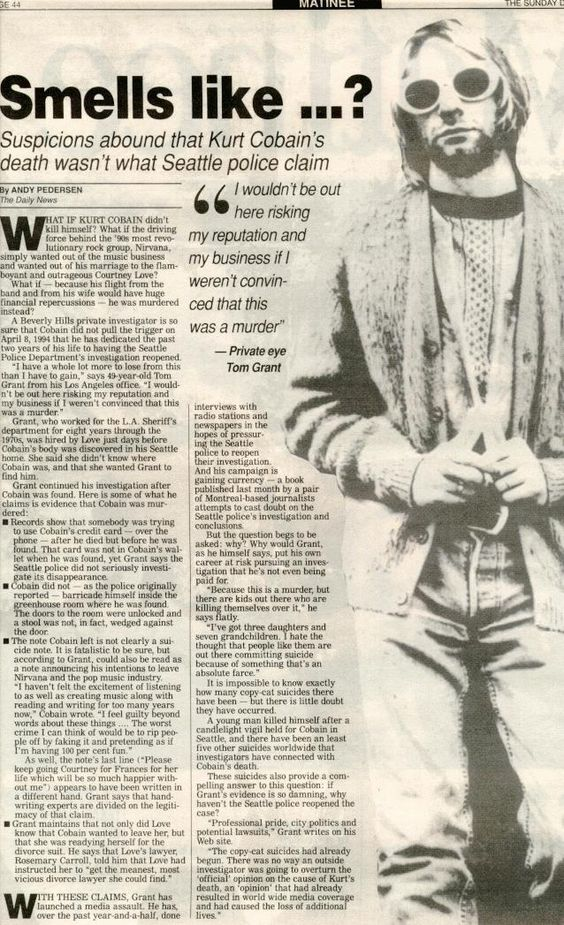 a paper on the life and times of kurt cobain For music fans of a certain age, kurt cobain's april 5, 1994, suicide was as seismic, gutting and incomprehensible as the murder of john lennon a.