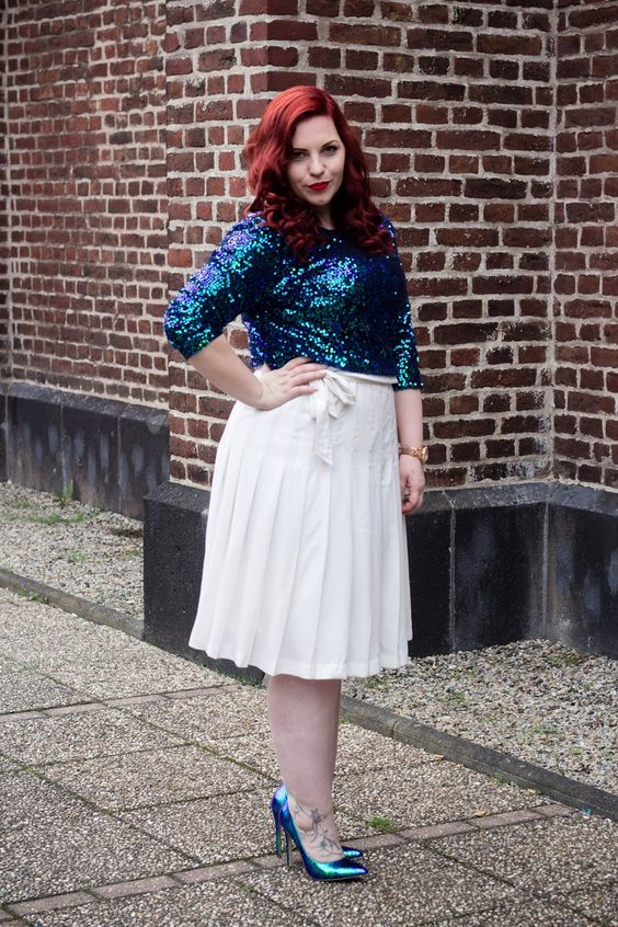 Outfit: #staysoulfully Faltenrock + Pailletten - Curvy Sequins