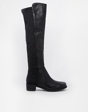 Buffalo+Over+The+Knee+Stretch+Flat+Boots