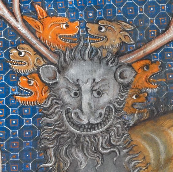 Beast of the Apocalypse. La Somme le Roy, France ca. 1290-1300. British Library, Add. 28162, fol. 3v.: