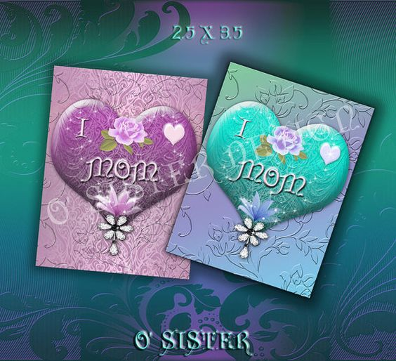 Happy Mothers Day Hearts Digital Sheets Two Sizes 5x7 by Osister, $3.20