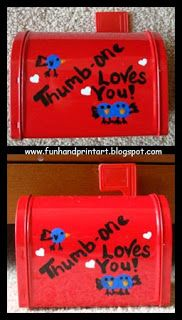 Handprint and Footprint Arts & Crafts: Valentine's Day Kid's Mailbox - Thumbprint Love Birds: Baby Kids Crafts, Arts Crafts, Hand Footprint Art, Handprint Kids, Kids Hand Footprint, Handprint Art, Arts & Crafts, Handprint Footprint