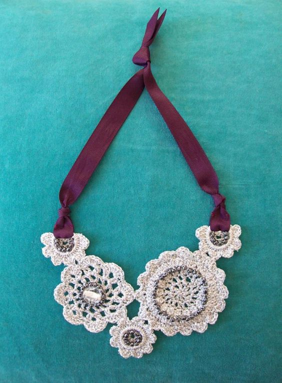Crochet Patterns Free Jewelry : Sparkle necklace - crochet free pattern Crochet jewelry ...