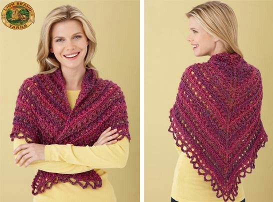 Crochet Stitches Lion Brand : ... Crochet Projects Pinterest Shawl Patterns, Lion Brand and Shawl