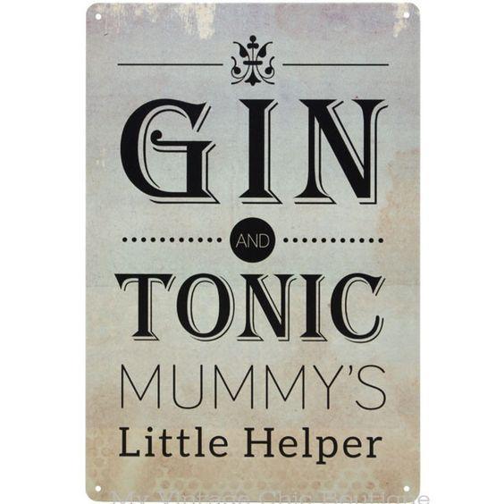 Gin & Tonic Mummy's Little Helper Sign Plaque Vintage Retro