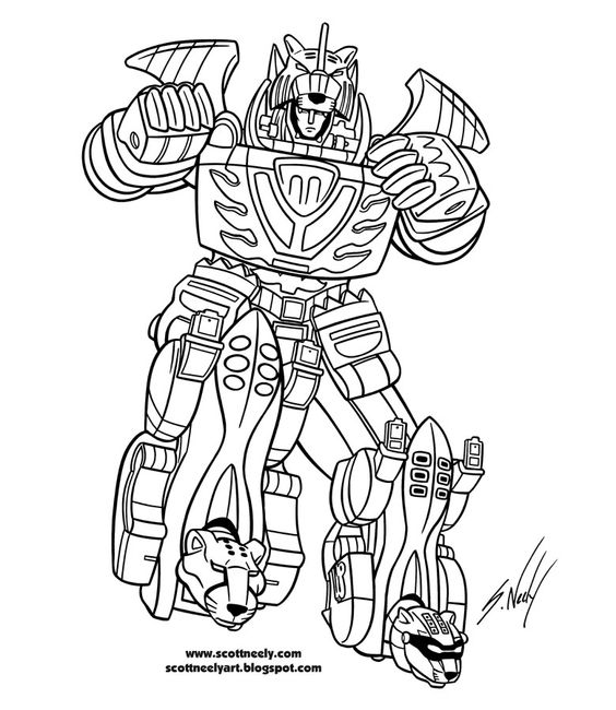 the megazord robot of power rangers jungle fury coloring