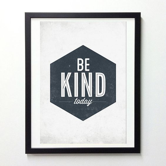 Original vintage-style typography print with motivational quote wording Be Kind Today Our poster are lovingly designed with vintage wash texture