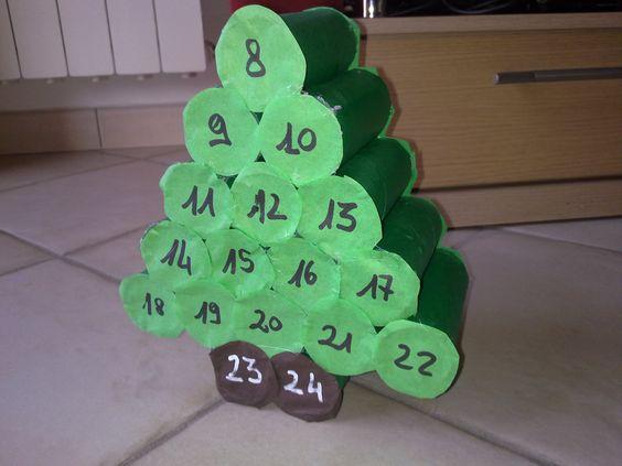 Calendario bambini ~ Calendario dell avvento riciclando tubi di cartone lavoretti