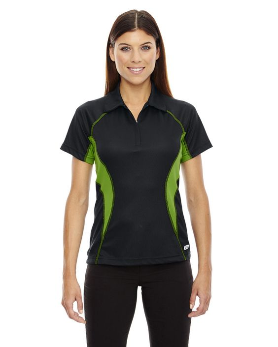 North End Sport Red Womens Serac UTK CoolLogik Perfomance Blend 1/4 Zip Short Sleeve Polo Shirt 78657