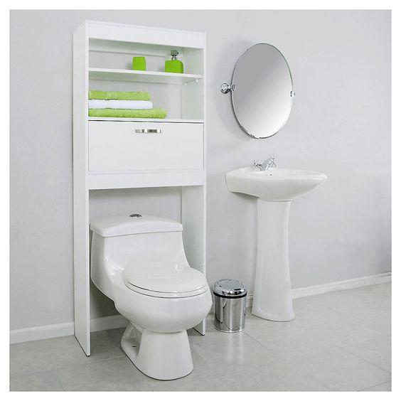 Mueble ba o ahorrador de espacio blanco - Mueble para encima del inodoro ...
