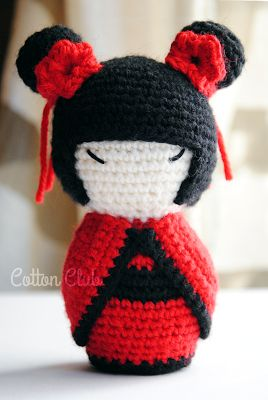 Cotton Club: Kokeshi amigurumi, schema gratuito in italiano