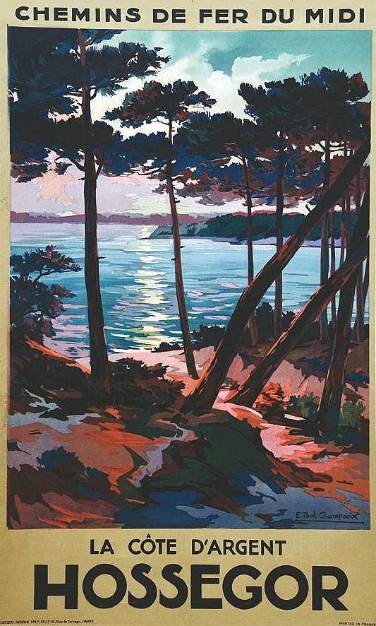 Sold Price Champseix E Paul Hossegor Vers 1935 October 4 0115 12 00 Pm Cest Travel Posters Vintage Travel Posters Vintage Travel