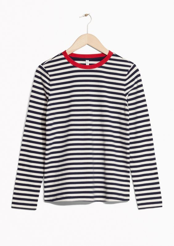 & Other Stories image 1 of Striped Sweater in Blue/White