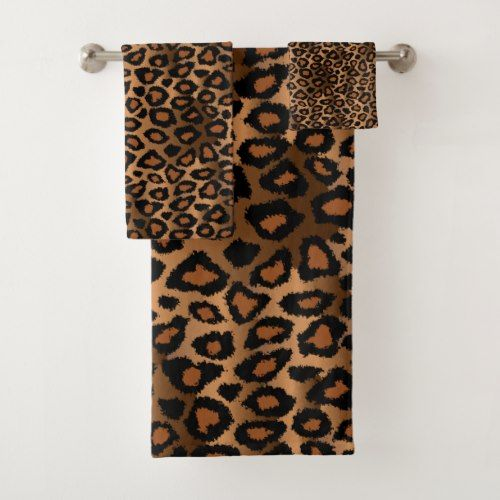 Brown Leopard Pattern Bath Towel Set Zazzle Com Patterned Bath Towels Towel Set Bath Towel Sets