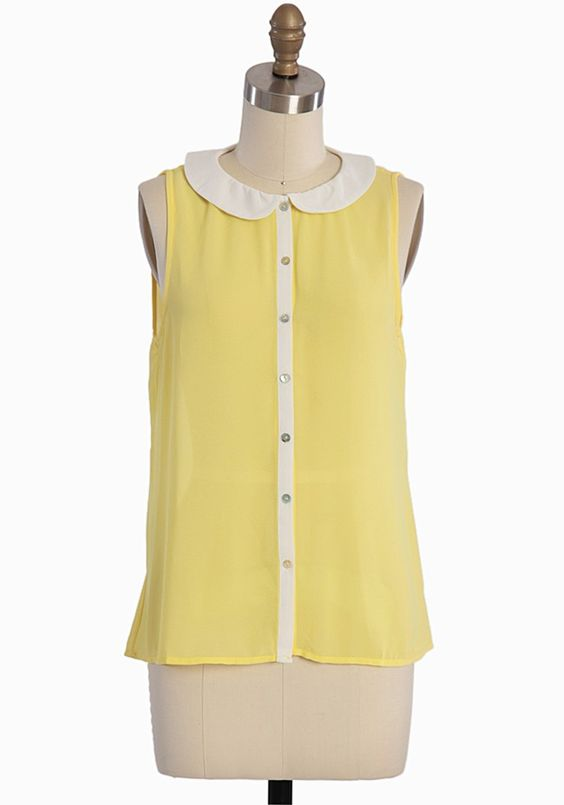 Yellow peter pan collar blouse