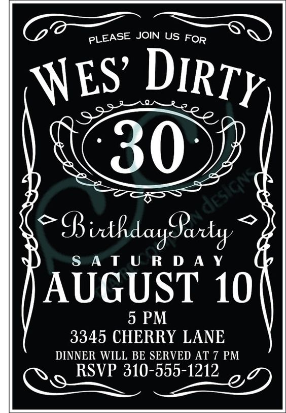 Dirty 30 Birthday Invitation by CCdesignSpace on Etsy 1000 – Dirty 30 Birthday Invitations