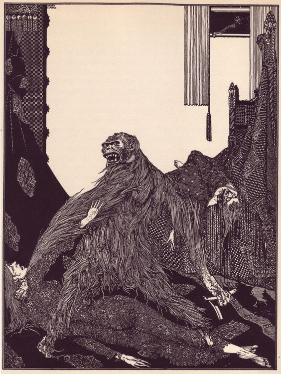 "Harry Clarke illustration of ""The Murders in the Rue Morgue"" (1841) by Edgar Allan Poe."