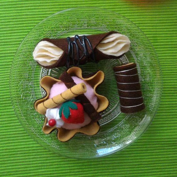 dolci italiani in feltro tortine decoro pasticcini di Lunambra