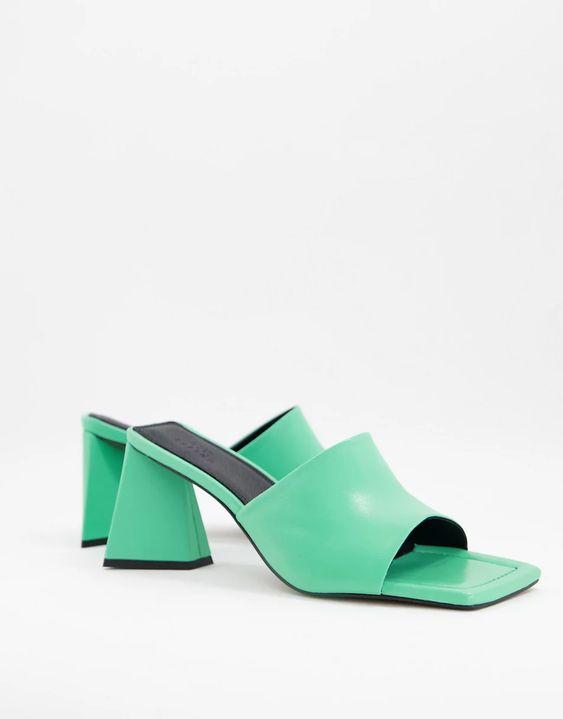 ASOS DESIGN Healing premium leather mid heeled mules in green