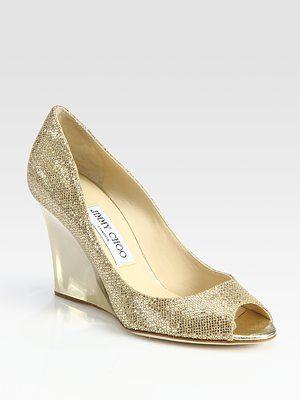 Glittery gold Jimmy Choo wedges